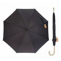 Зонт-трость однотонный, механический, r=52см, цвет чёрный