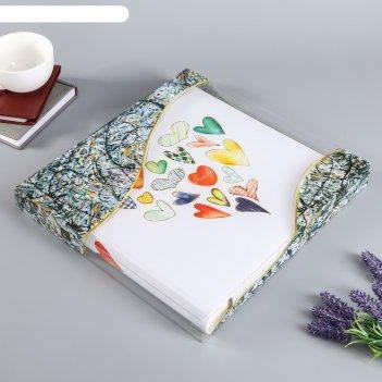 Фотоальбом магнитный 20 листов с пергаментом сердечки  31х32 см