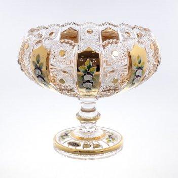Фруктовница 25 см на ножке max crystal золото