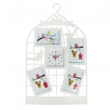 Часы настенные, серия: фото, клетка, 4 фоторамки, белые, 38х62 см, микс