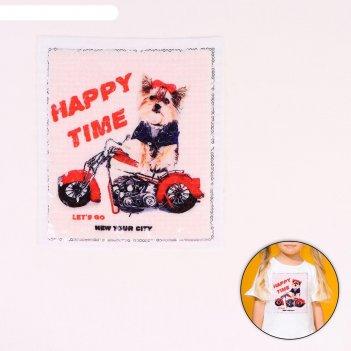 Пришивная аппликация с пайетками собака на мотоцикле, 21,2 х 18,5см
