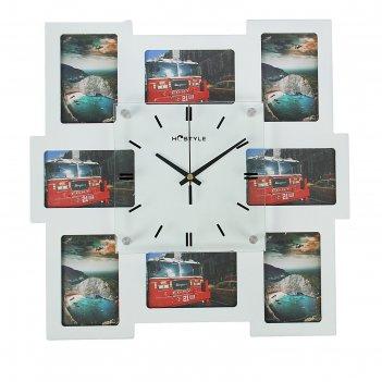 Часы настенные, 8 фоторамок неправильный квадрат, цвет белый