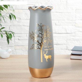 Ваза керамика настольная олень под деревом 10,5х11х30 см, микс