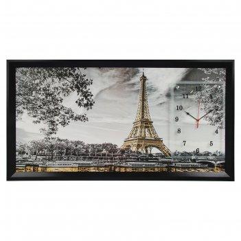Часы-картина настенные, серия: город, эйфелева башня, 50х100  см, микс