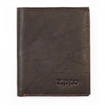 Портмоне zippo, цвет мокко, натуральная кожа, 10x1,5x12,3 см