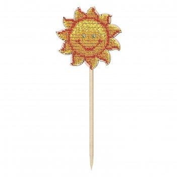 Набор для изготовления топпера солнышко с бисером,  9х22,8 см
