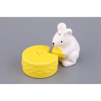 """Набор для соли и перца 2 пр.""""мышка с сыром"""" 6*4*4/5*5*3 см."""