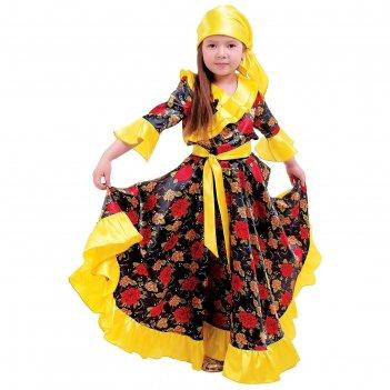 Карнавальный костюм цыганка, косынка, блузка, юбка, пояс, цвет жёлтый, обх