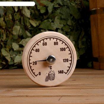 Деревянный термометр станция банная открытая бытовая, от 0 до +140 с ,