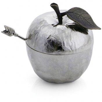 Банка для мёда с ложкой michael aram яблоко 11см (серебрист.)