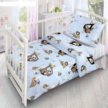 Детское постельное бельё «коты-пираты», 140х110 см, 110х140см, 40х60 см, п
