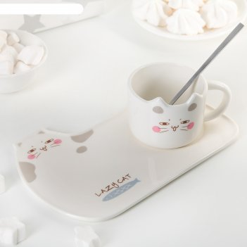 Чайная пара 200 мл котик, блюдце, ложка