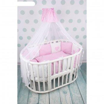Комплект в кроватку premium кроха, 18 предметов, розовый