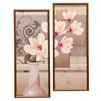 Модульная картина в раме бежевые цветы 2-25*65  50*70 см