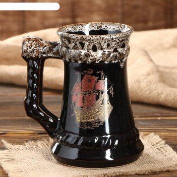 Бокал для пива корабль, коричневый, деколь, 0.7 л, микс