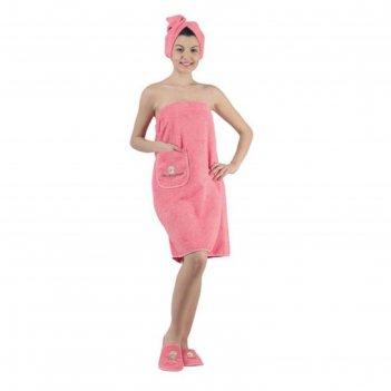 Набор для сауны женский karna paris, махра 380 г/м2, цвет коралловый