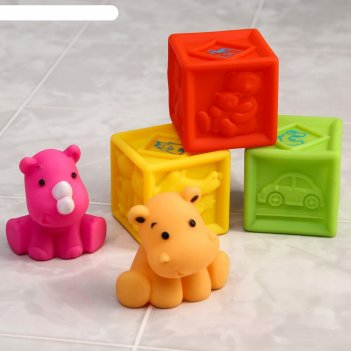 Набор игрушек для ванны «кубики и зверята», 5 шт.