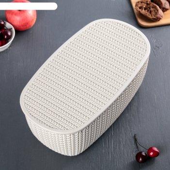 Хлебница вязание с разделочной доской, цвет белый ротанг