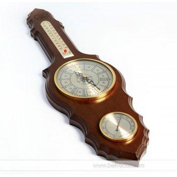 Метеостанция бм-10 массив дерева 57х16см, часы, гигрометр, термометр
