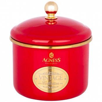 Банка для сыпучих продуктов agness, эмалированная, серия тюдор12 х 9см / 1