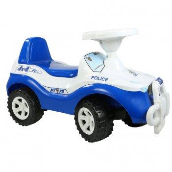 Ор105 каталка машинка джипик police с клаксоном бело-синяя