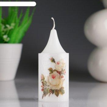 Свеча- цилиндр кремовая роза белая, с декором, 4x10 см