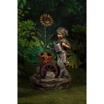 Садовый фонтан  девочка и подсолнух