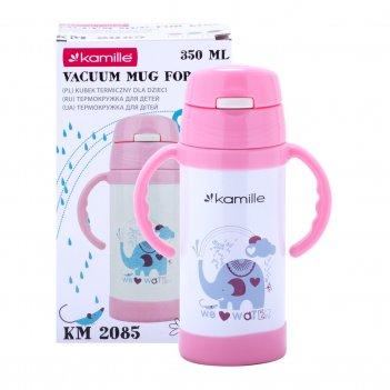 Термобутылка детская kamille розовый 350мл из нержавеющей стали km-2085rz
