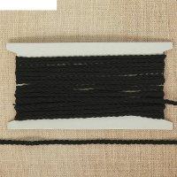 Тесьма декоративная коса, ширина 0,5 см, 10 м, цвет чёрный