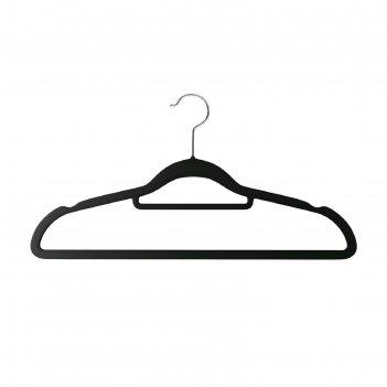 Вешалки-плечики вельветовые, противоскользящие, набор 35 штук, цвет чёрный