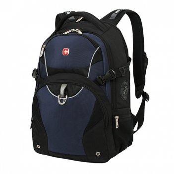 Рюкзак wenger цв.чёрный, синий, чёрный, с двумя отделениями, карман органа