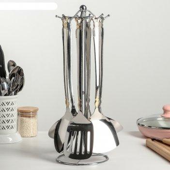 Набор кухонных принадлежностей богатство, 6 предметов на подставке, ручная