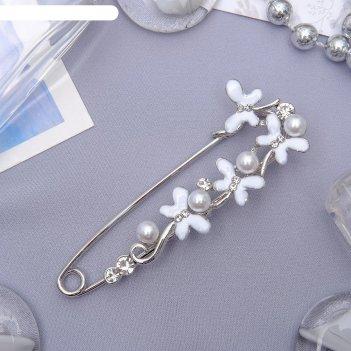 Булавка цветы ромашки, 7,5см, цвет белый в серебре