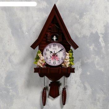 Часы настенные с кукушкой зайчики, 2 шт 3 аа, 2 шт r14, плавный ход, 62х8х