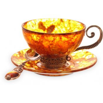 Чайный набор из янтаря антик на 3 персоны