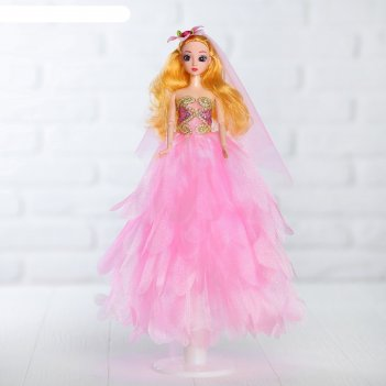 Кукла на подставке «принцесса», розовое платье, на голове цветок
