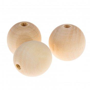 Бусины деревянные d=30 мм (набор 3 шт) без покрытия