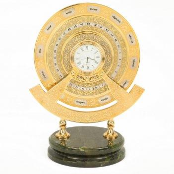 Часы вечный календарь нефрит латунь позолота 190х135х240 мм