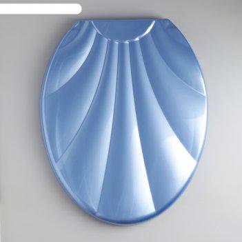 Сиденье с крышкой для унитаза ракушка, цвет голубой перламутр