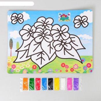 Фреска с цветным основанием цветочки 9 цветов песка по 2 г