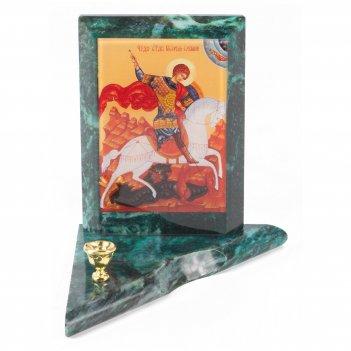 Икона с подсвечником георгий победоносец малая змеевик 95х95х100 мм 350 гр