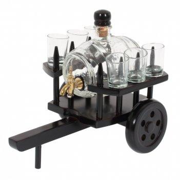 Бочонок для напитков, 500мл с 6 стопками на деревянной подставке, l26 w18
