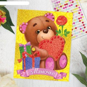 Фреска с полубусинами мамочке, медвежонок