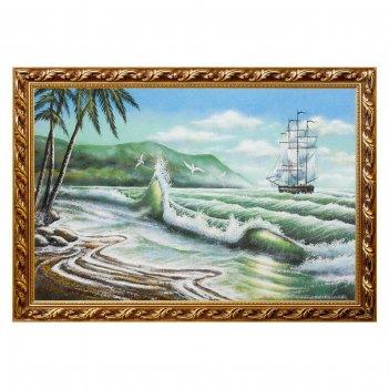 Картина пейзаж с парусником и пальмами багет №6 (40х60 см)