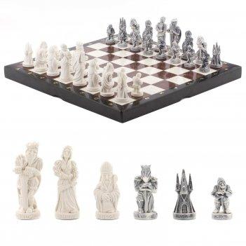 Шахматы средневековье мрамор лемезит 405х405 мм