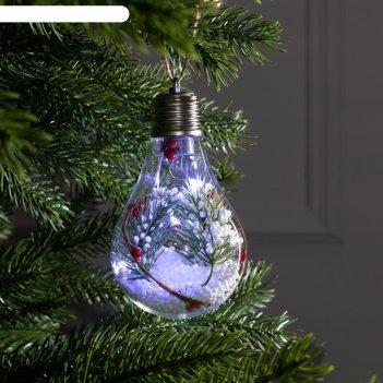 Елочный шар лампочка  ветка елочки  5 led. от батареек 2032 (в комплекте)