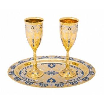 Набор свадебный медовый месяц (тарель, 2 фужера) златоуст