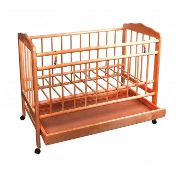Кроватка детская женечка-2: колесо-ящик, 2 положения ложа, массив из берез