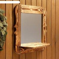 Зеркало резное с полкой, обожжённое, 53x53x1,6 см