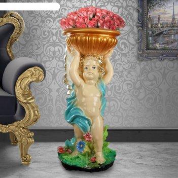 Статуэтка ангел с чашей в руках, цветная, 22 х 24 х 52 см, микс